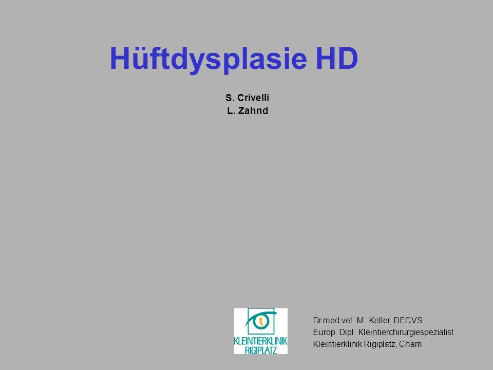 Hüftdysplasie HD S. Crivelli L. Zahnd Dr.med.vet. M. Keller, DECVS Europ. Dipl. Kleintierchirurgiespezialist Kleintierklinik Rigiplatz, Cham