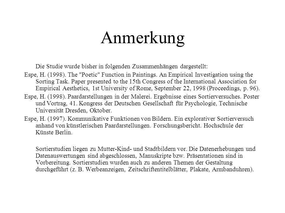 Anmerkung Die Studie wurde bisher in folgenden Zusammenhängen dargestellt: Espe, H.