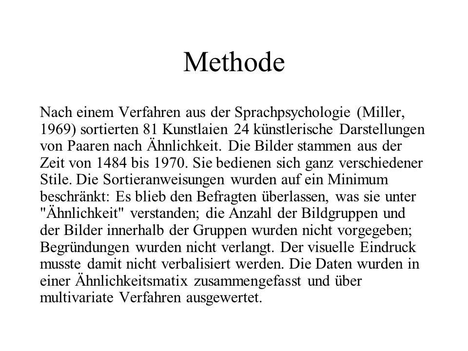 Methode Nach einem Verfahren aus der Sprachpsychologie (Miller, 1969) sortierten 81 Kunstlaien 24 künstlerische Darstellungen von Paaren nach Ähnlichkeit.