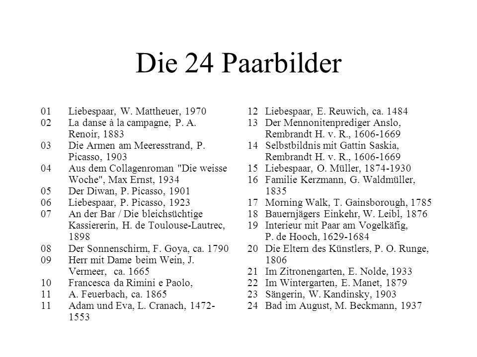 Die 24 Paarbilder 01 Liebespaar, W.Mattheuer, 1970 02 La danse à la campagne, P.