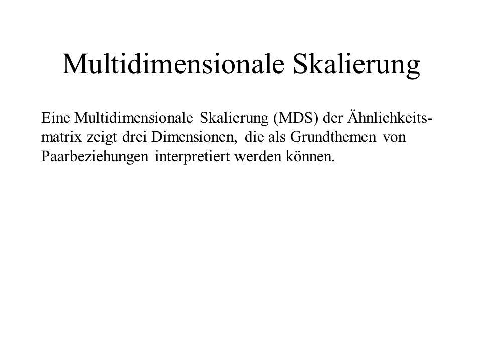 Multidimensionale Skalierung Eine Multidimensionale Skalierung (MDS) der Ähnlichkeits- matrix zeigt drei Dimensionen, die als Grundthemen von Paarbeziehungen interpretiert werden können.