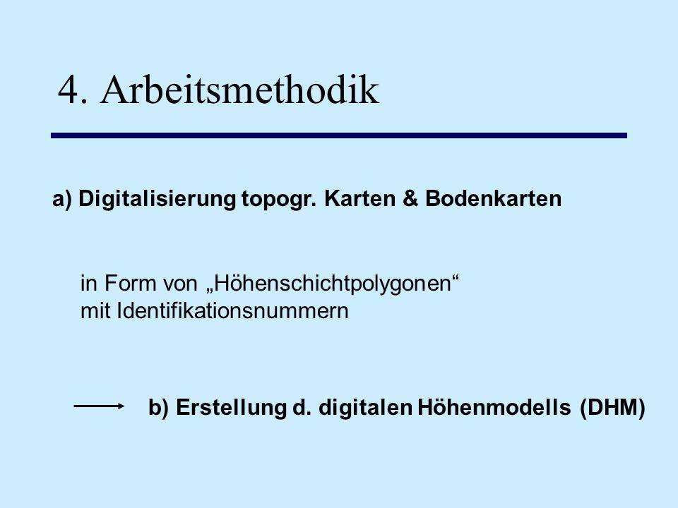 4. Arbeitsmethodik a) Digitalisierung topogr. Karten & Bodenkarten in Form von Höhenschichtpolygonen mit Identifikationsnummern b) Erstellung d. digit