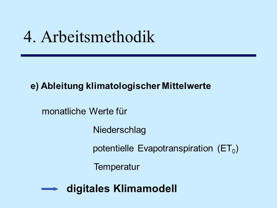 4. Arbeitsmethodik e) Ableitung klimatologischer Mittelwerte monatliche Werte für Temperatur potentielle Evapotranspiration (ET 0 ) Niederschlag digit