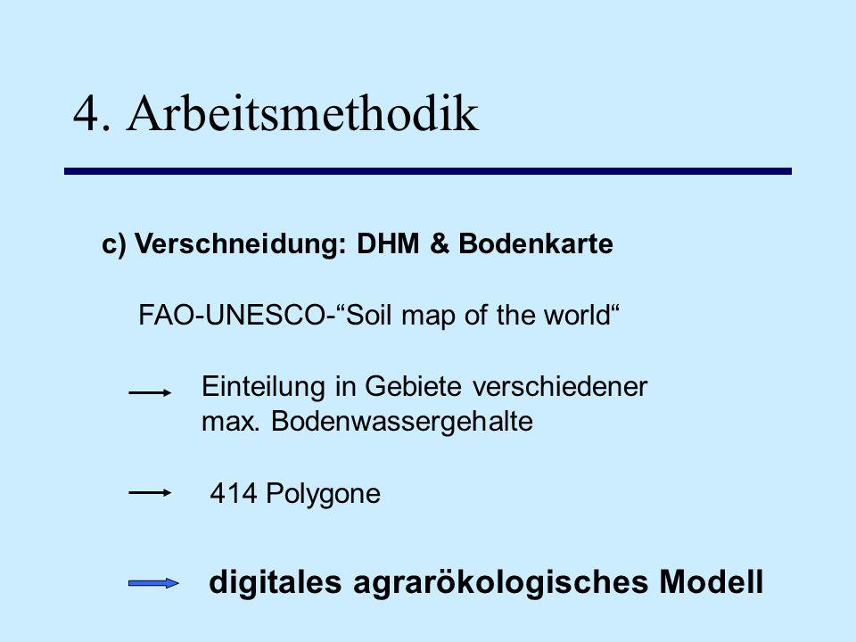 4. Arbeitsmethodik c) Verschneidung: DHM & Bodenkarte FAO-UNESCO-Soil map of the world digitales agrarökologisches Modell Einteilung in Gebiete versch