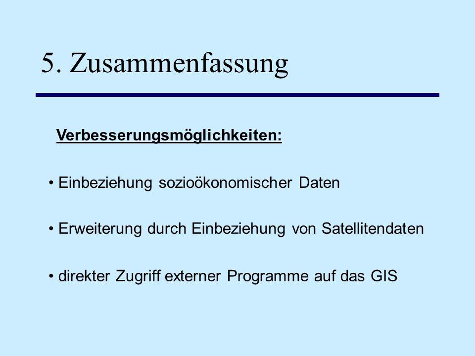 5. Zusammenfassung Einbeziehung sozioökonomischer Daten Erweiterung durch Einbeziehung von Satellitendaten direkter Zugriff externer Programme auf das