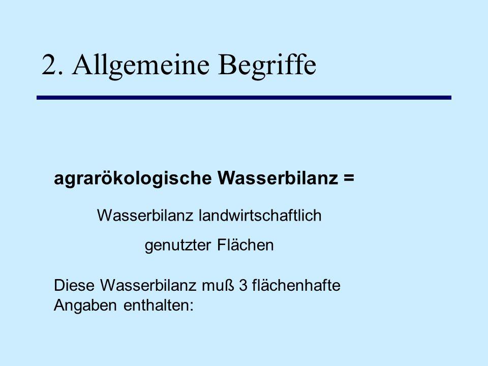 2. Allgemeine Begriffe agrarökologische Wasserbilanz = Diese Wasserbilanz muß 3 flächenhafte Angaben enthalten: Wasserbilanz landwirtschaftlich genutz