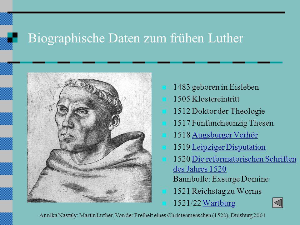 Annika Nastaly: Martin Luther, Von der Freiheit eines Christenmenschen (1520), Duisburg 2001 Quellenauszug 4: sola gratia Denn was dir unmöglich ist mit allen Werken des Gesetzes,..., das wirst du auf leichtem und kurzem Wege erfüllen durch den Glauben.