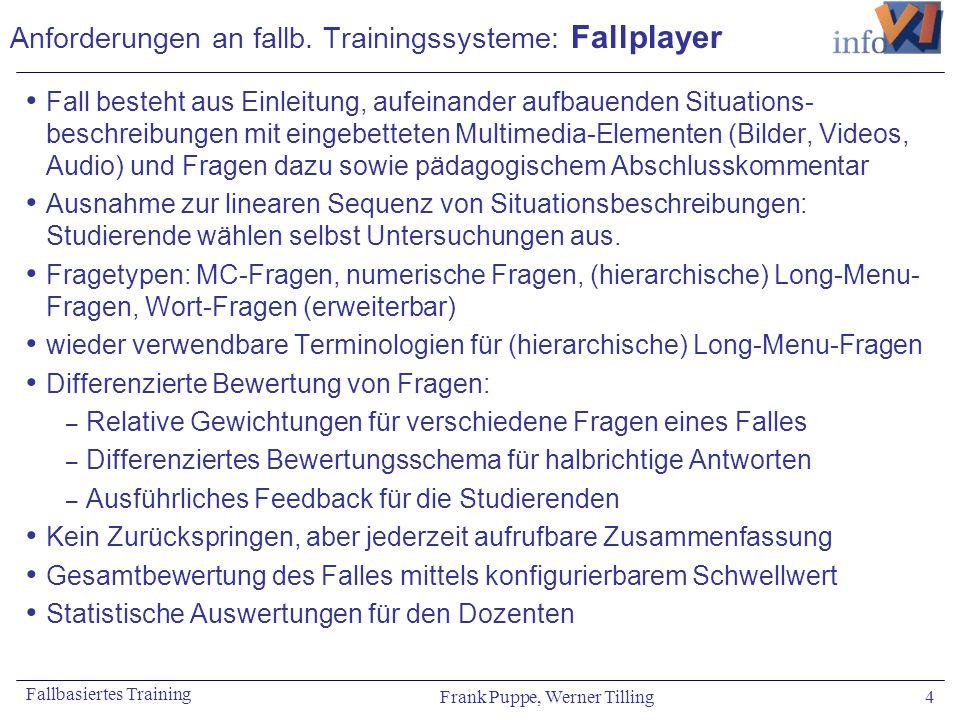 Frank Puppe, Werner Tilling 4 Fallbasiertes Training Anforderungen an fallb. Trainingssysteme: Fallplayer Fall besteht aus Einleitung, aufeinander auf