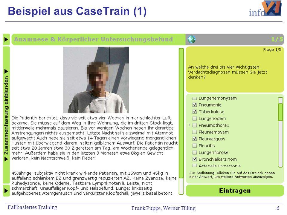 Frank Puppe, Werner Tilling 6 Fallbasiertes Training Beispiel aus CaseTrain (1)