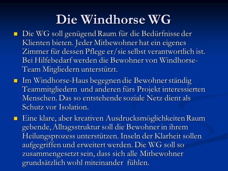 Die Windhorse WG Die WG soll genügend Raum für die Bedürfnisse der Klienten bieten. Jeder Mitbewohner hat ein eigenes Zimmer für dessen Pflege er/sie