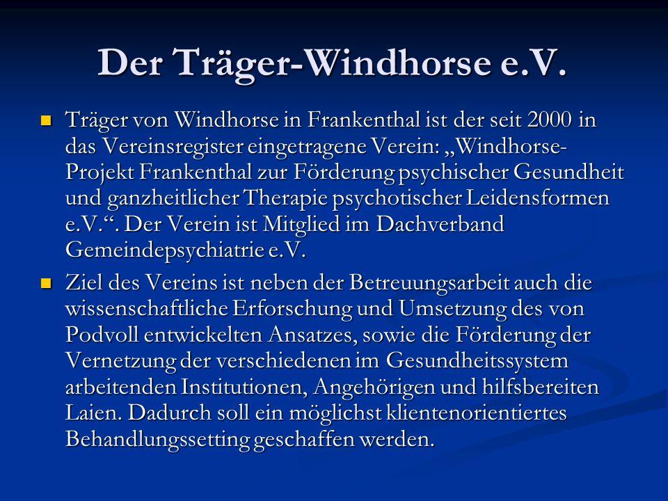 Der Träger-Windhorse e.V. Träger von Windhorse in Frankenthal ist der seit 2000 in das Vereinsregister eingetragene Verein: Windhorse- Projekt Franken