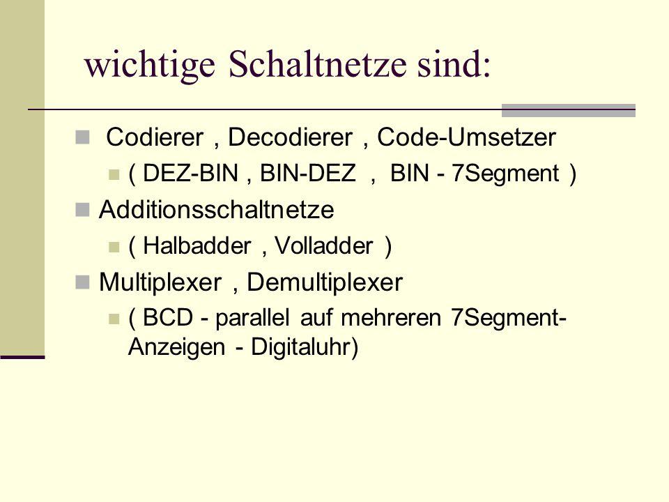Beispiele für Codierer: DEZIMAL --> DUAL (BCD-Code) (BCD= Binary Coded dezimal Digit ) EingängeAusgänge (0/1) 0..9a=2^0, (0/1)b=2^1, c=2^2, d=2^3 10 / BCD