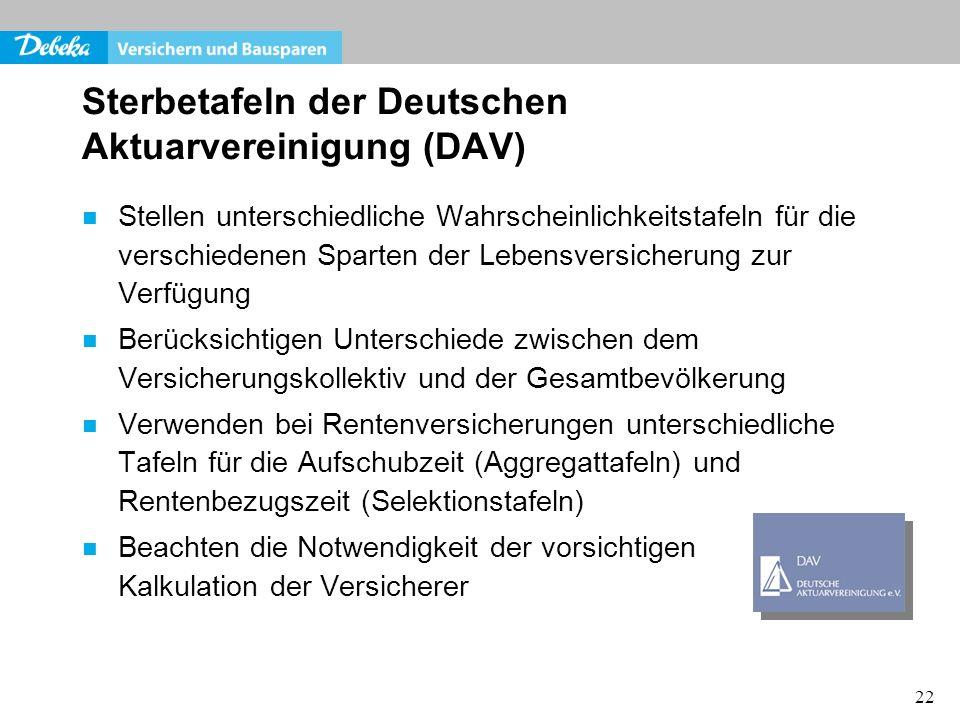 22 Sterbetafeln der Deutschen Aktuarvereinigung (DAV) Stellen unterschiedliche Wahrscheinlichkeitstafeln für die verschiedenen Sparten der Lebensversi