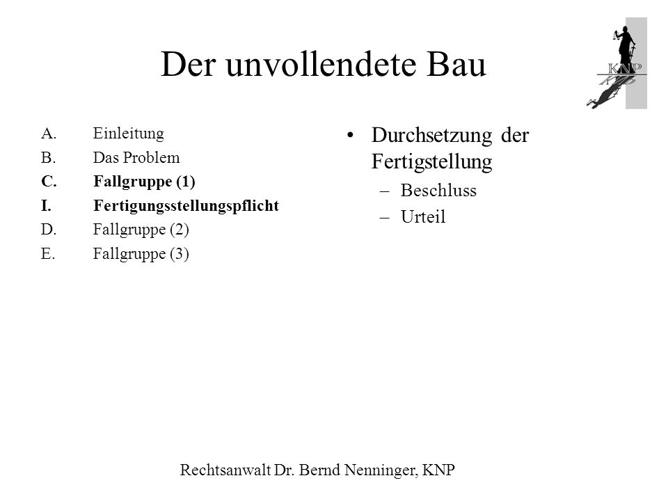 A.Einleitung B.Das Problem C.Fallgruppe (1) I.Fertigungsstellungspflicht D.Fallgruppe (2) E.Fallgruppe (3) Durchsetzung der Fertigstellung –Beschluss