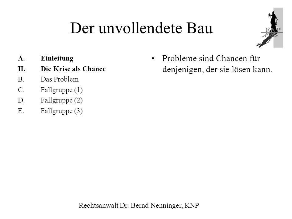 A.Einleitung II.Die Krise als Chance B.Das Problem C.Fallgruppe (1) D.Fallgruppe (2) E.Fallgruppe (3) Probleme sind Chancen für denjenigen, der sie lö