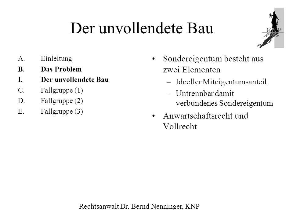 A.Einleitung B.Das Problem I.Der unvollendete Bau C.Fallgruppe (1) D.Fallgruppe (2) E.Fallgruppe (3) Sondereigentum besteht aus zwei Elementen –Ideell