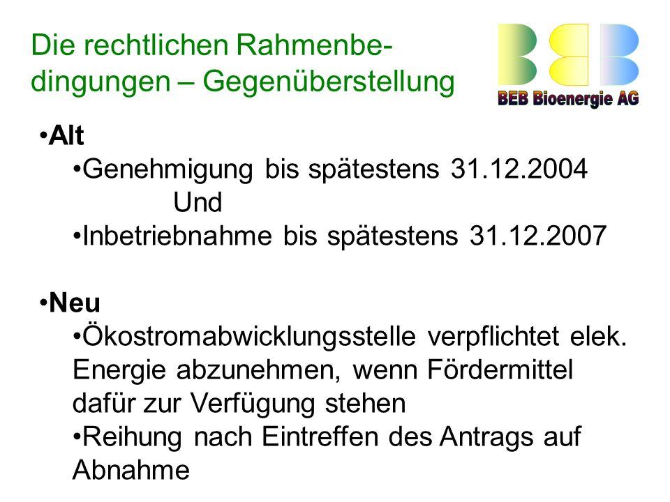Alt Genehmigung bis spätestens 31.12.2004 Und Inbetriebnahme bis spätestens 31.12.2007 Neu Ökostromabwicklungsstelle verpflichtet elek.