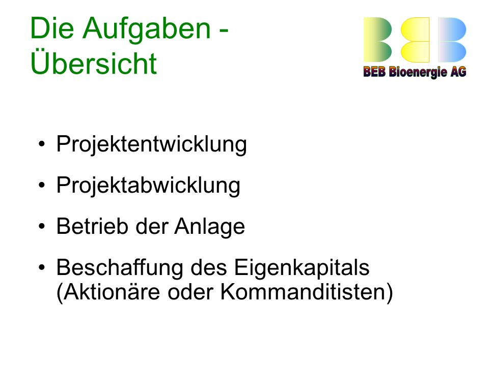 Die Aufgaben - Übersicht Projektentwicklung Projektabwicklung Betrieb der Anlage Beschaffung des Eigenkapitals (Aktionäre oder Kommanditisten)