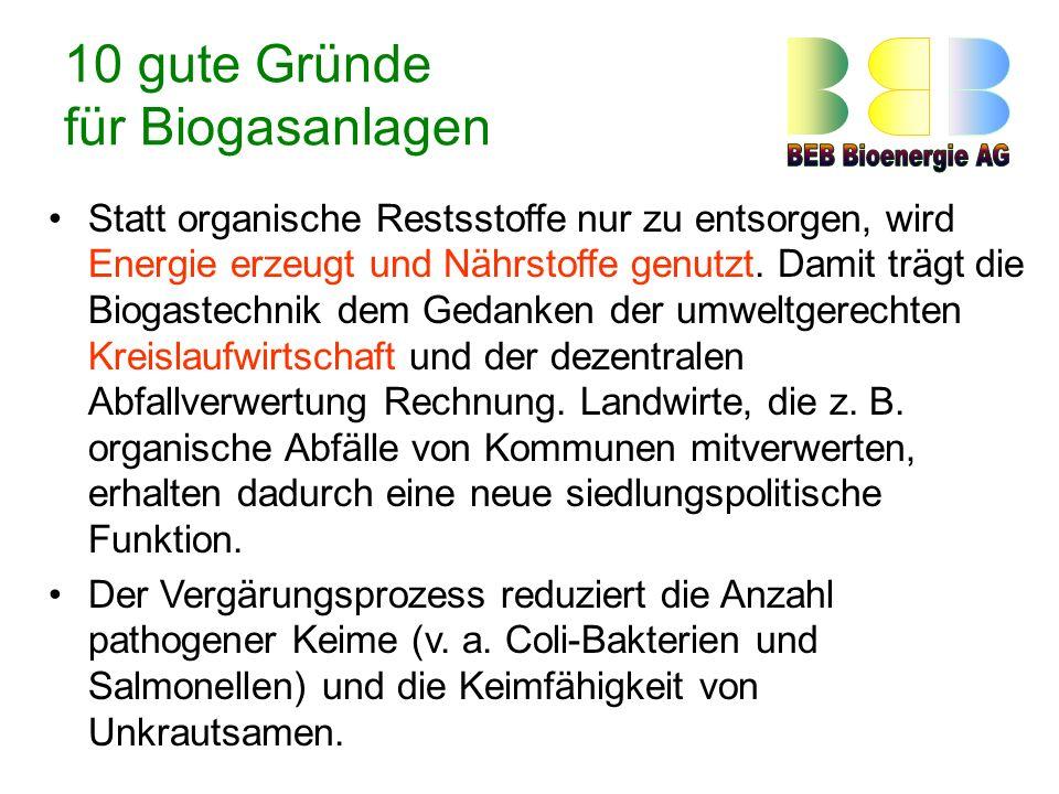 10 gute Gründe für Biogasanlagen Statt organische Restsstoffe nur zu entsorgen, wird Energie erzeugt und Nährstoffe genutzt.