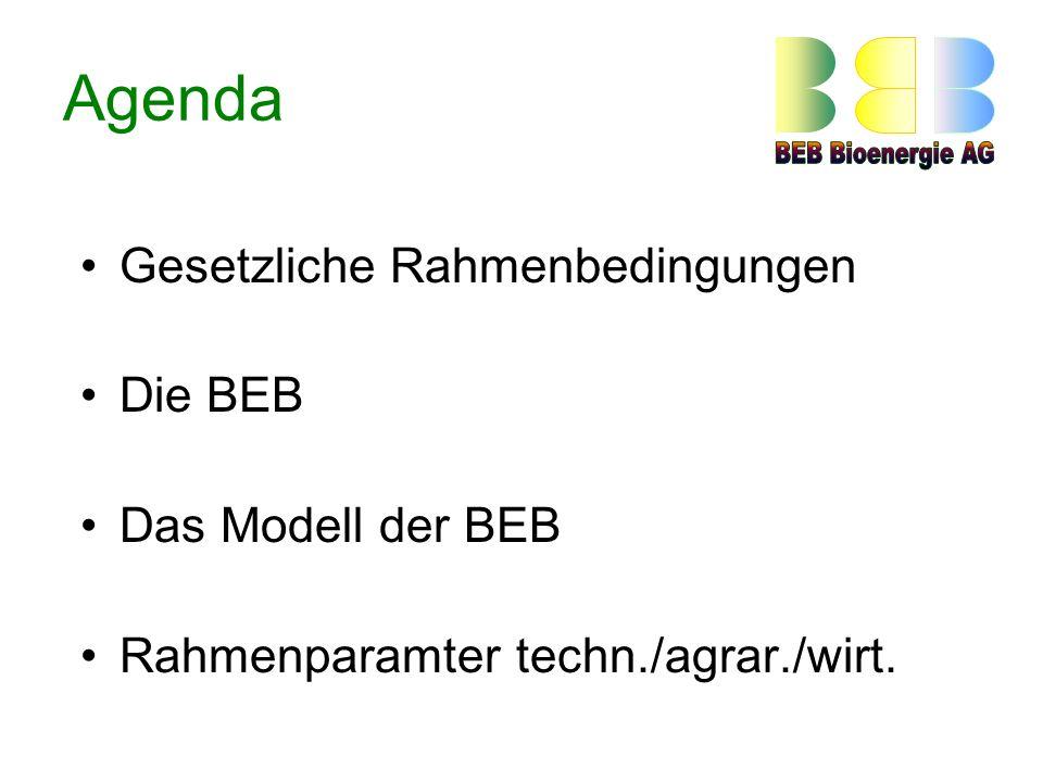 Agenda Gesetzliche Rahmenbedingungen Die BEB Das Modell der BEB Rahmenparamter techn./agrar./wirt.