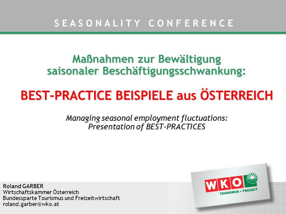 INHALT -Saisonale Beschäftigungsschwankungen im Tourismus -Best-Practice Beispiele aus Österreich -Conclusio Maßnahmen zur Bewältigung saisonaler Beschäftigungsschwankung: Best-Practice Beispiele