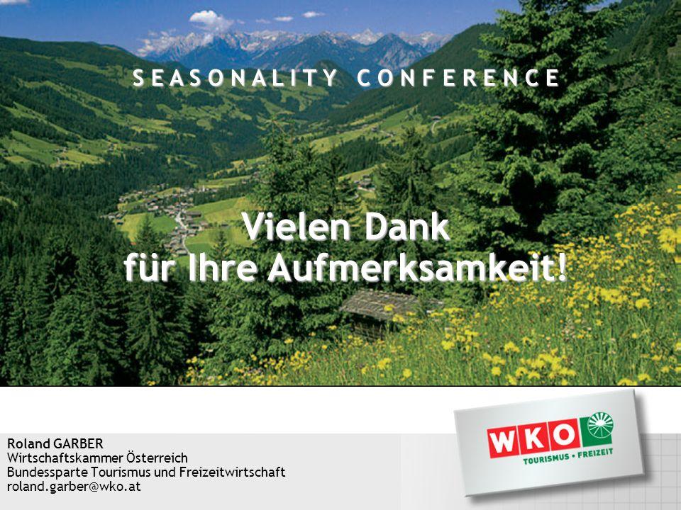 Roland GARBER Wirtschaftskammer Österreich Bundessparte Tourismus und Freizeitwirtschaft roland.garber@wko.at Vielen Dank für Ihre Aufmerksamkeit! S E