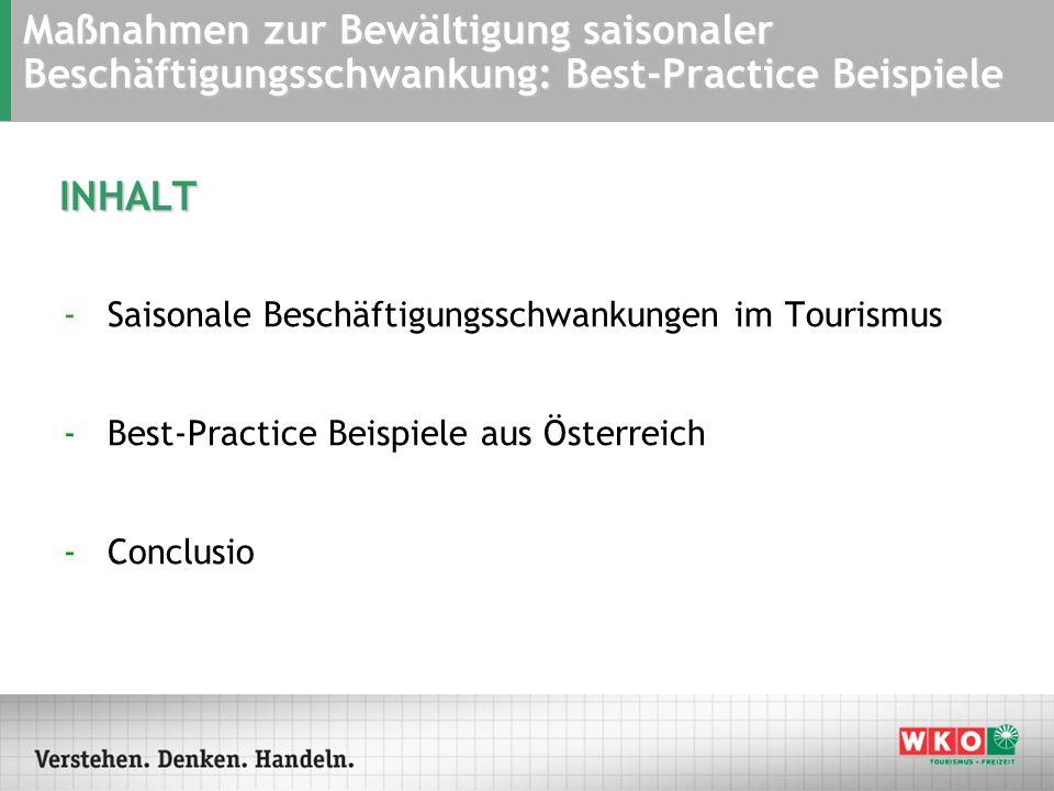 INHALT -Saisonale Beschäftigungsschwankungen im Tourismus -Best-Practice Beispiele aus Österreich -Conclusio Maßnahmen zur Bewältigung saisonaler Besc