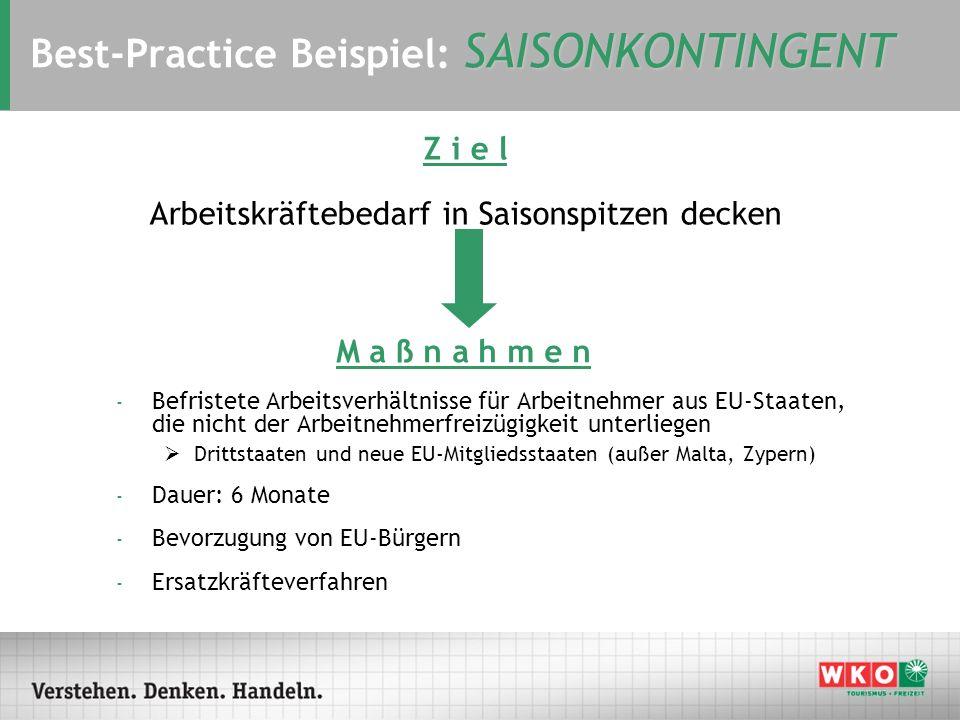 SAISONKONTINGENT Best-Practice Beispiel: SAISONKONTINGENT - Befristete Arbeitsverhältnisse für Arbeitnehmer aus EU-Staaten, die nicht der Arbeitnehmer