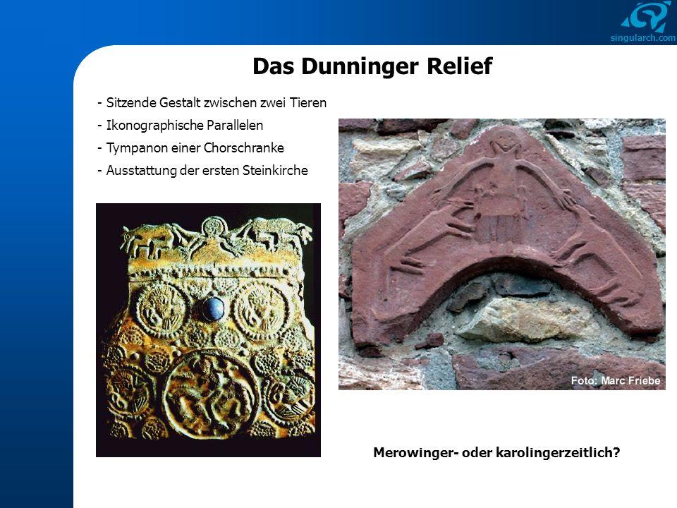 singularch.com - Sitzende Gestalt zwischen zwei Tieren - Ausstattung der ersten Steinkirche - Ikonographische Parallelen - Tympanon einer Chorschranke