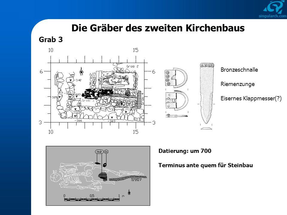 singularch.com Die Gräber des zweiten Kirchenbaus Grab 3 Eisernes Klappmesser(?) Bronzeschnalle Riemenzunge Datierung: um 700 Terminus ante quem für S