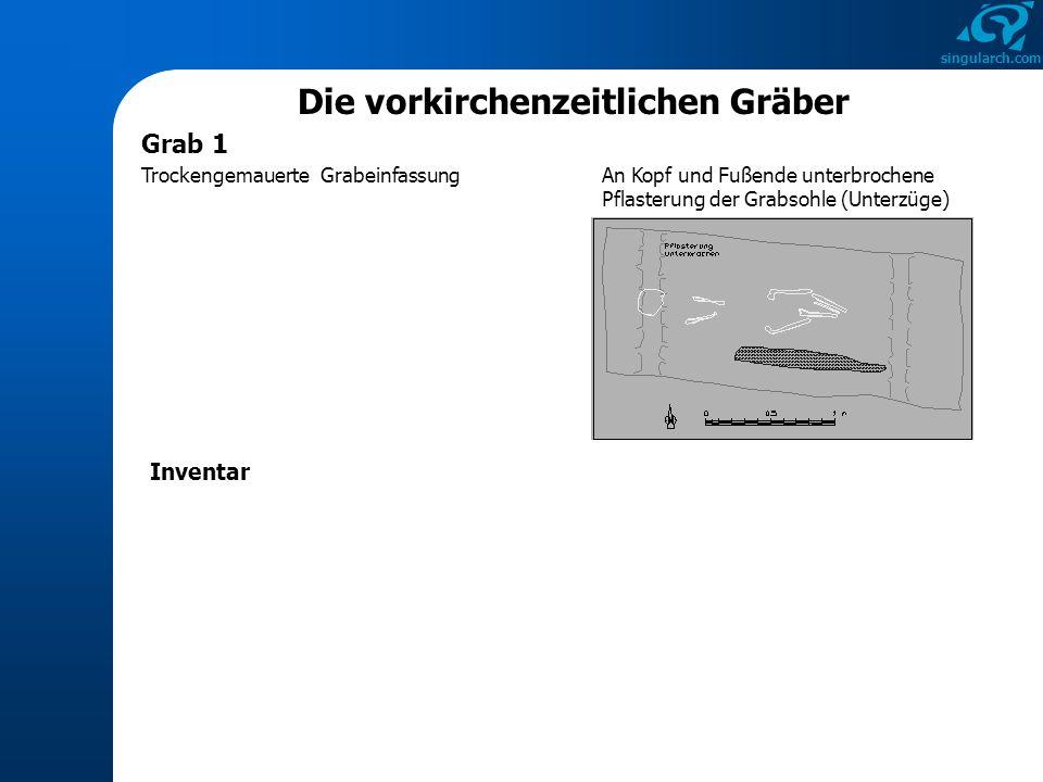 singularch.com Die vorkirchenzeitlichen Gräber Kurzbewertung von Grab 1 Datierung: um 600/frühes 7.