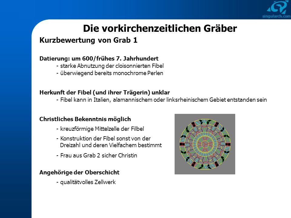 singularch.com Die vorkirchenzeitlichen Gräber Kurzbewertung von Grab 1 Datierung: um 600/frühes 7. Jahrhundert - starke Abnutzung der cloisonnierten