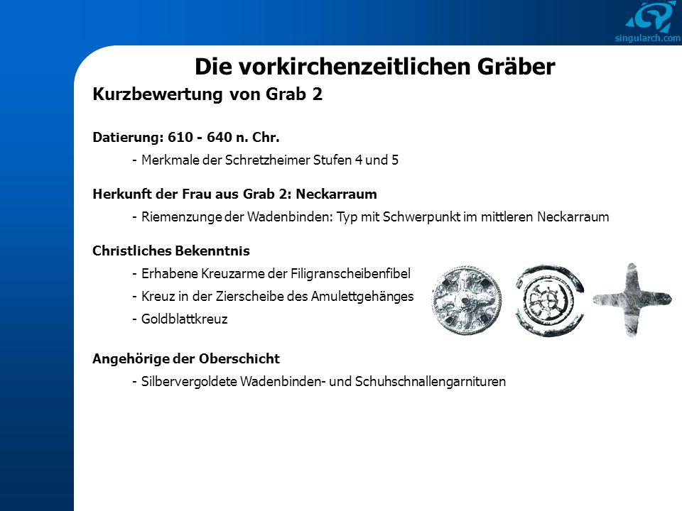 singularch.com Die vorkirchenzeitlichen Gräber Kurzbewertung von Grab 2 Datierung: 610 - 640 n. Chr. - Merkmale der Schretzheimer Stufen 4 und 5 Herku