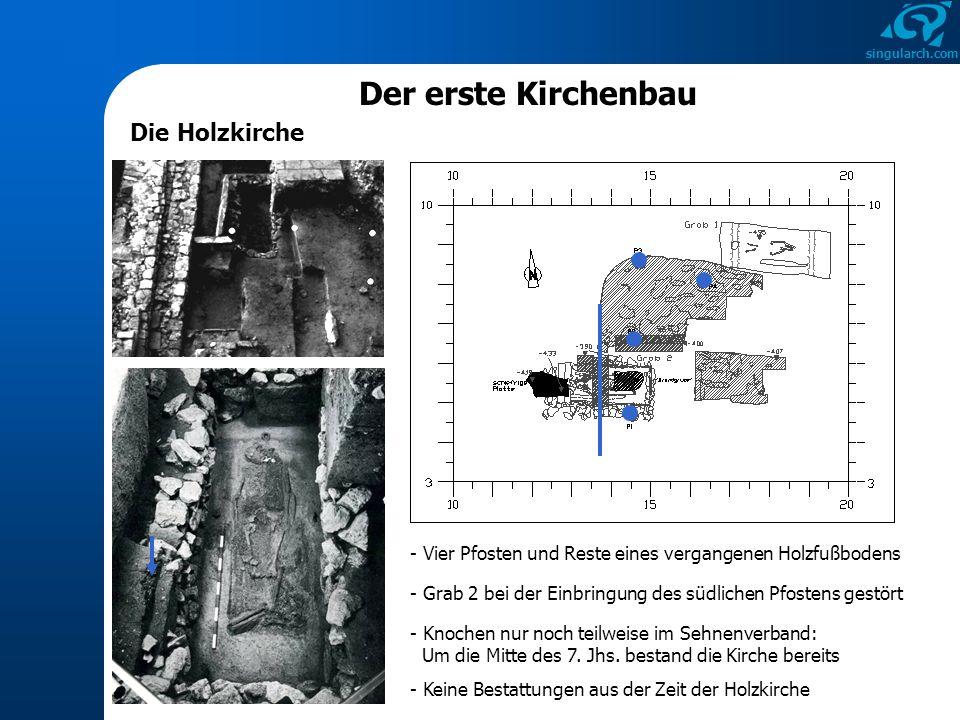 singularch.com Der erste Kirchenbau Die Holzkirche - Vier Pfosten und Reste eines vergangenen Holzfußbodens - Grab 2 bei der Einbringung des südlichen