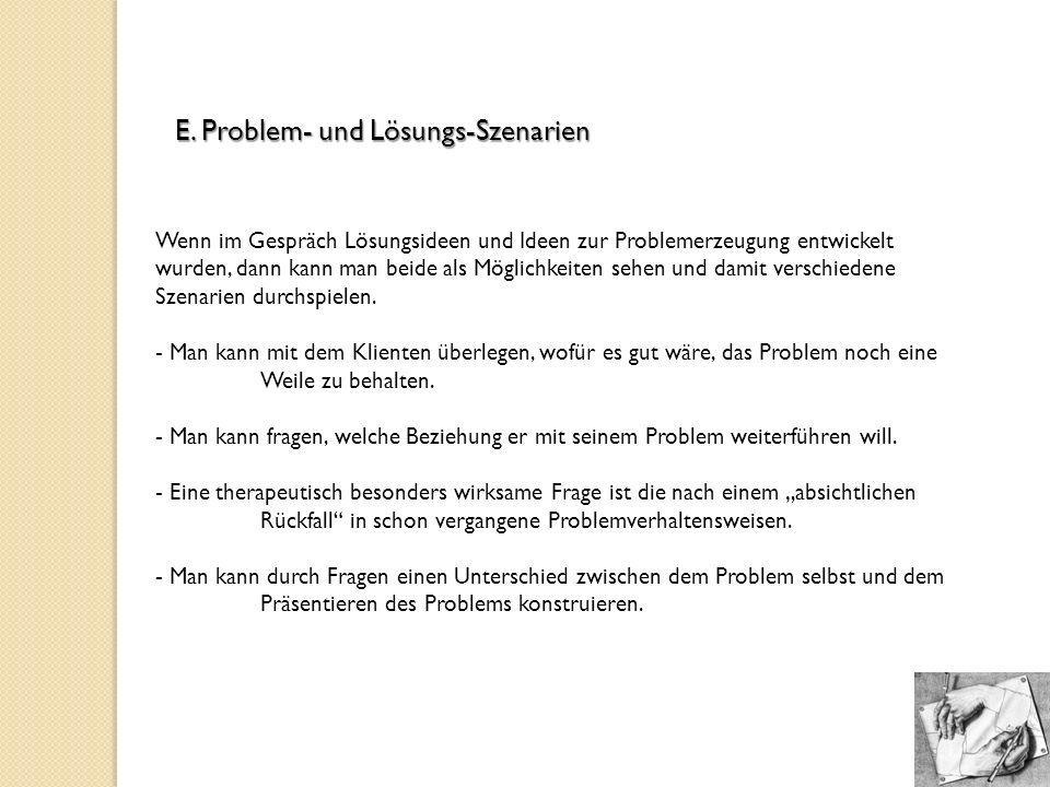 E. Problem- und Lösungs-Szenarien Wenn im Gespräch Lösungsideen und Ideen zur Problemerzeugung entwickelt wurden, dann kann man beide als Möglichkeite