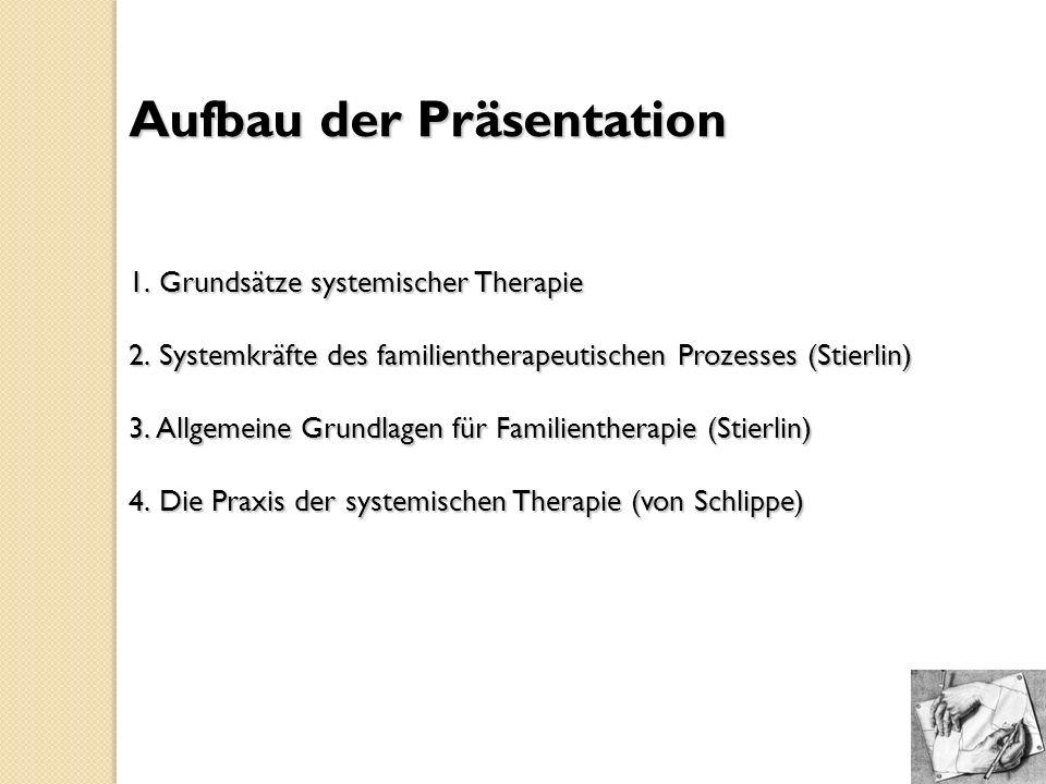 Aufbau der Präsentation 1. Grundsätze systemischer Therapie 2. Systemkräfte des familientherapeutischen Prozesses (Stierlin) 3. Allgemeine Grundlagen
