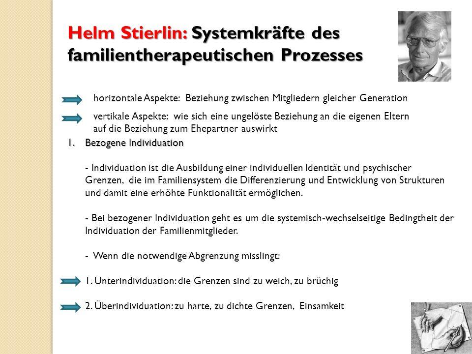 Helm Stierlin: Systemkräfte des familientherapeutischen Prozesses horizontale Aspekte: Beziehung zwischen Mitgliedern gleicher Generation vertikale As