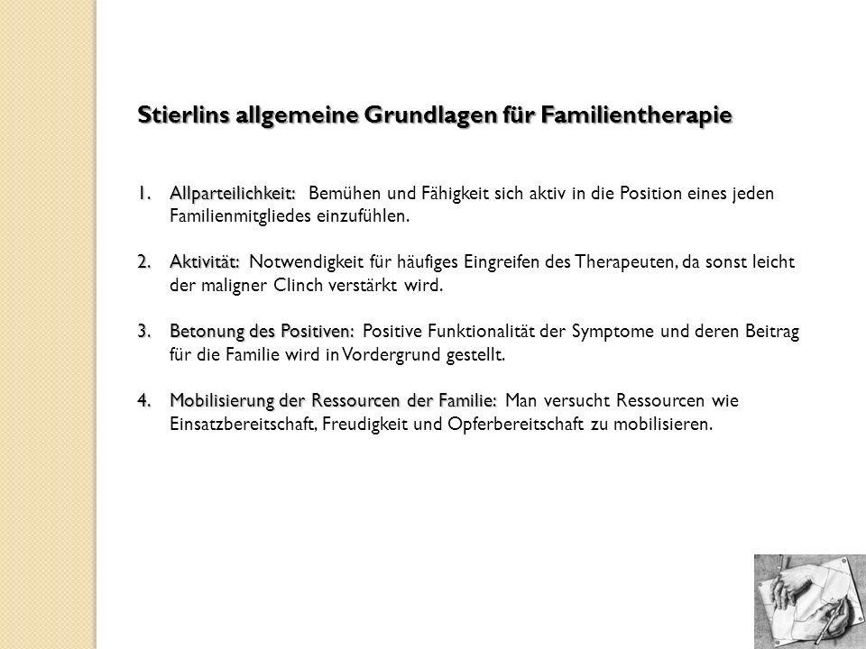 Stierlins allgemeine Grundlagen für Familientherapie 1.Allparteilichkeit: 1.Allparteilichkeit: Bemühen und Fähigkeit sich aktiv in die Position eines