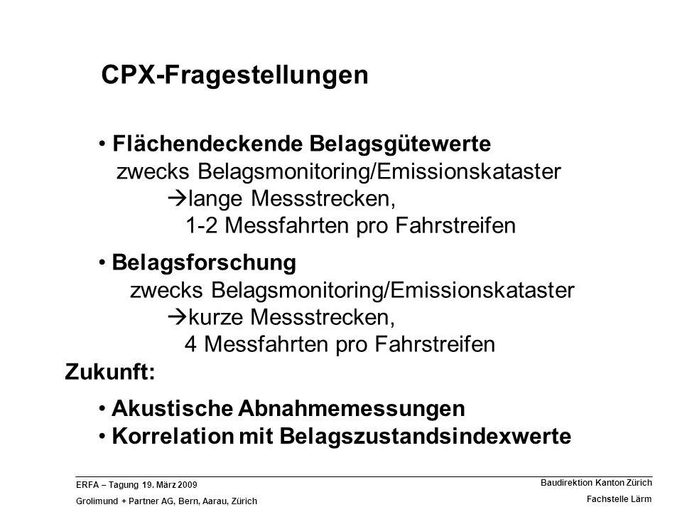 ERFA – Tagung 19. März 2009 Grolimund + Partner AG, Bern, Aarau, Zürich Baudirektion Kanton Zürich Fachstelle Lärm CPX-Fragestellungen Akustische Abna