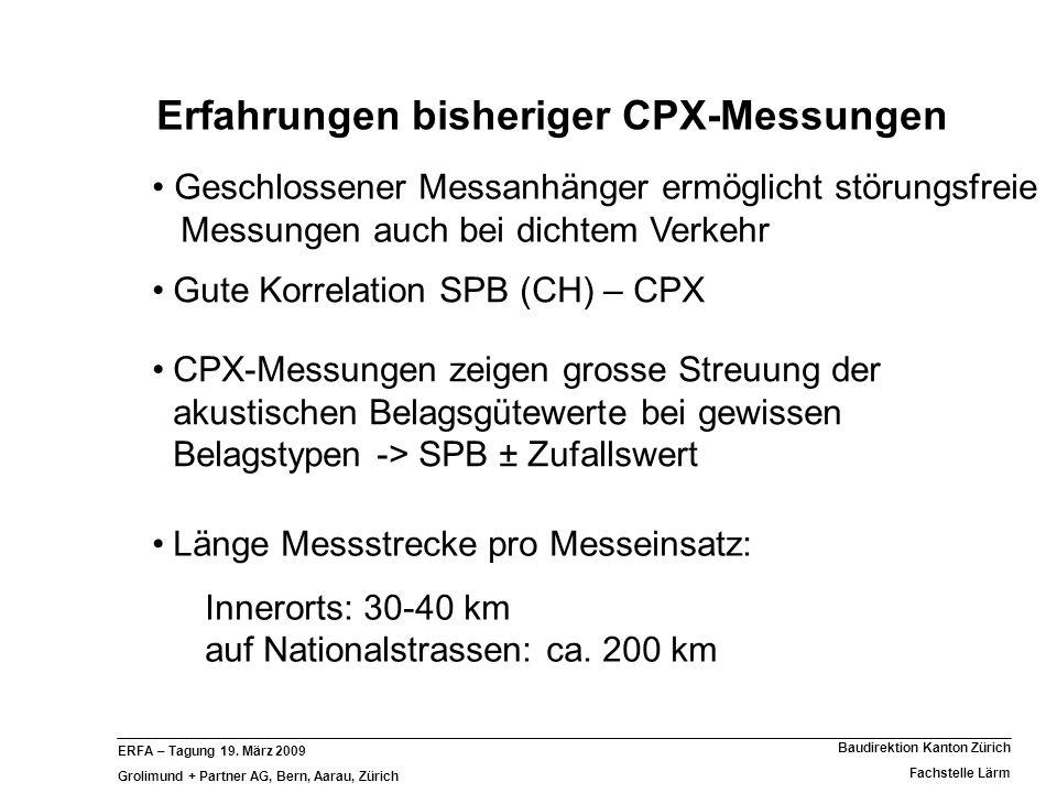 ERFA – Tagung 19. März 2009 Grolimund + Partner AG, Bern, Aarau, Zürich Baudirektion Kanton Zürich Fachstelle Lärm Erfahrungen bisheriger CPX-Messunge