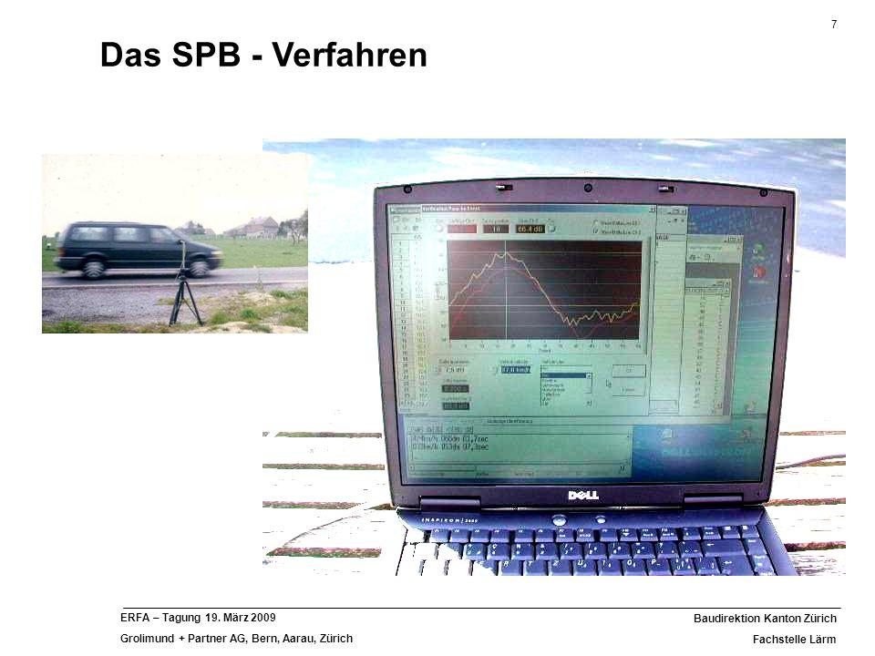 7 Baudirektion Kanton Zürich Fachstelle Lärm ERFA – Tagung 19. März 2009 Grolimund + Partner AG, Bern, Aarau, Zürich Das SPB - Verfahren