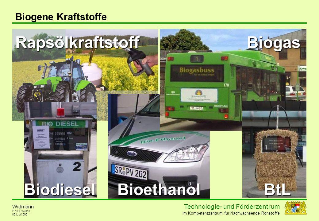 Technolog ie - und För der zent r um im Kompetenzzentrum für Nachwachsende Rohstoffe P 10 L Wi 010 06 L Wi 096 Biogene Kraftstoffe RapsölkraftstoffBio
