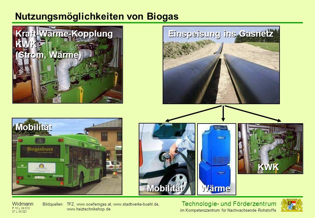 Technolog ie - und För der zent r um im Kompetenzzentrum für Nachwachsende Rohstoffe P 10 L Wi 010 Nutzungsmöglichkeiten von Biogas 07 L Wi 021 Widman