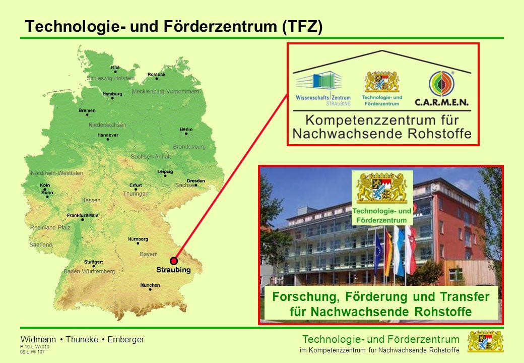 Technolog ie - und För der zent r um im Kompetenzzentrum für Nachwachsende Rohstoffe P 10 L Wi 010 Technologie- und Förderzentrum (TFZ) Widmann Thunek