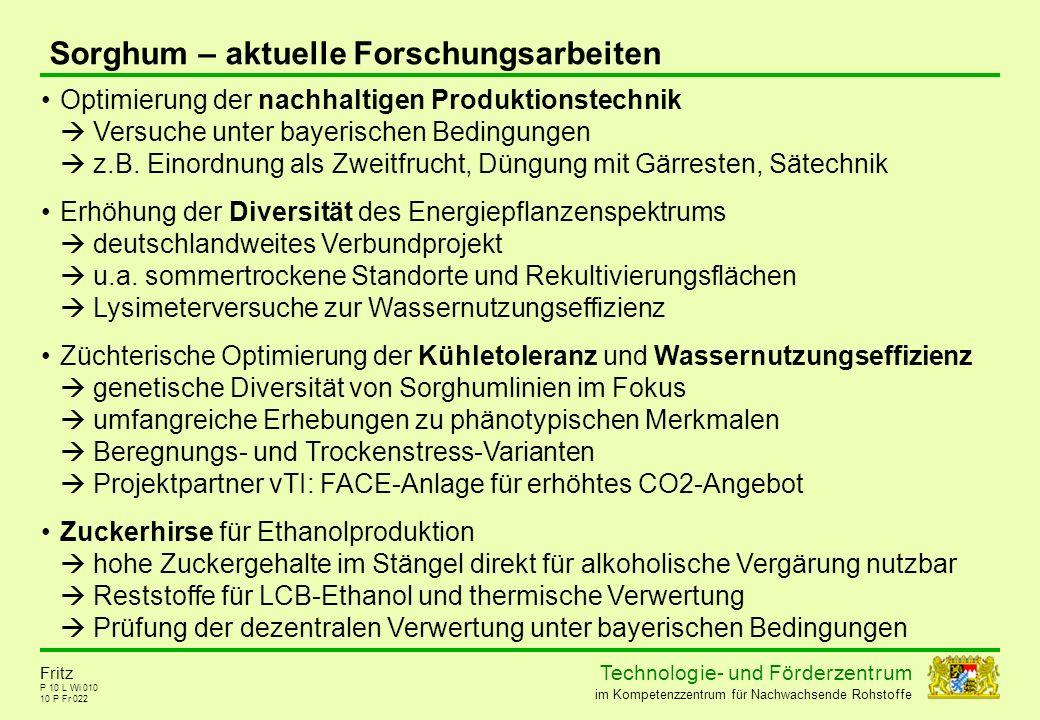 Technolog ie - und För der zent r um im Kompetenzzentrum für Nachwachsende Rohstoffe P 10 L Wi 010 10 P Fr 022 Fritz Sorghum – aktuelle Forschungsarbe