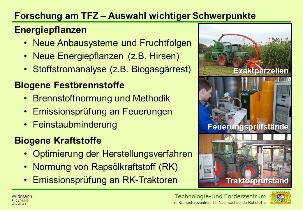 Technolog ie - und För der zent r um im Kompetenzzentrum für Nachwachsende Rohstoffe P 10 L Wi 010 08 L Wi 093 Widmann Forschung am TFZ – Auswahl wich