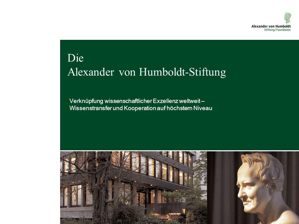 Die Alexander von Humboldt-Stiftung Verknüpfung wissenschaftlicher Exzellenz weltweit – Wissenstransfer und Kooperation auf höchstem Niveau Melanie Sc