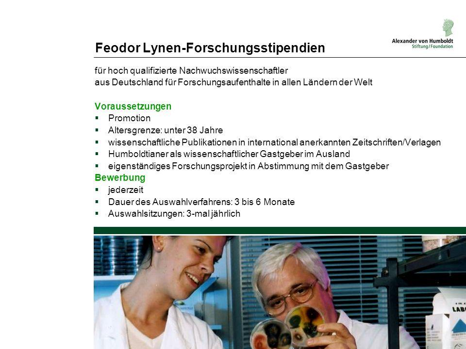 Feodor Lynen-Forschungsstipendien für hoch qualifizierte Nachwuchswissenschaftler aus Deutschland für Forschungsaufenthalte in allen Ländern der Welt
