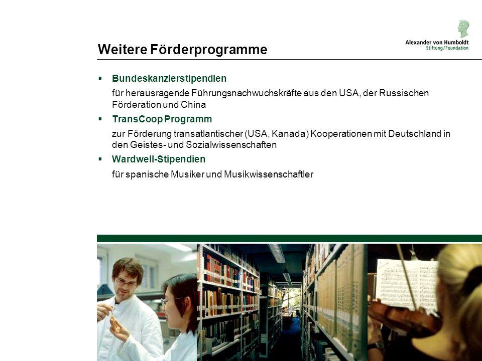 Weitere Förderprogramme Bundeskanzlerstipendien für herausragende Führungsnachwuchskräfte aus den USA, der Russischen Förderation und China TransCoop