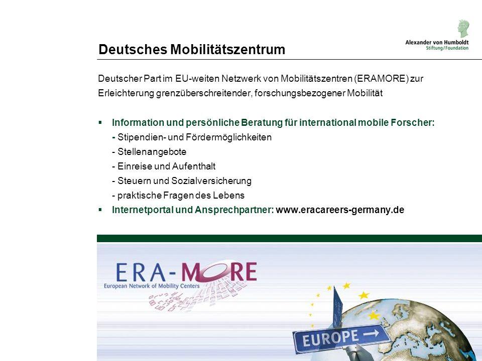 Deutsches Mobilitätszentrum Deutscher Part im EU-weiten Netzwerk von Mobilitätszentren (ERAMORE) zur Erleichterung grenzüberschreitender, forschungsbe